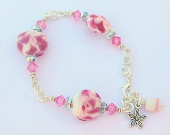 Pink Swarovski Crystals Teamed With Pink Swirling Lampwork Beads, A Girls Dream, Bracelet