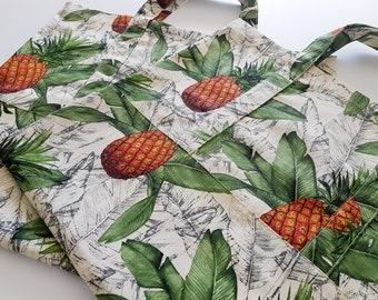 Pineapple Tote, Travel Tote, Handmade Tote, Canvas Tote Bag, Shopping Bag, Library Bag