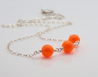 Neon Orange Swarovski Pearl Necklace, Wire Wrapped Necklace
