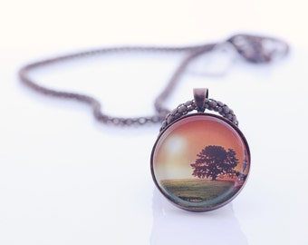Sunset And Tree Necklace, Vintage Copper, Fine Art Print, Photo Jewelry, Sunset