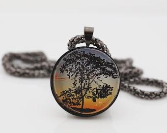 Tree Necklace, Gunmetal Black, Fine Art Print, Photo Jewelry, Sunset
