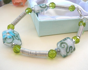 Green Wire Wrapped Bracelet, Sterling Silver