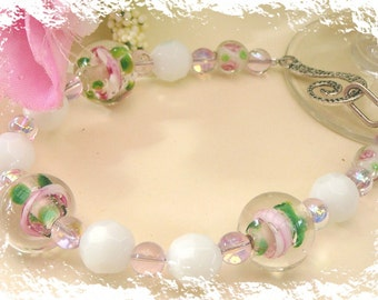 Pretty Pink And Green Flower Lampworks Teamed With White And Cream - Bracelet