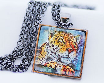 Resting Leopard Necklace, Gunmetal Black, Fine Art Print, Photo Jewelry