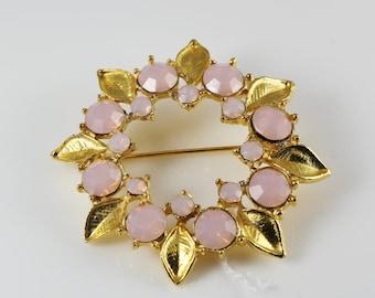 Gilt Wreath Vintage Brooch, Pastel Pink