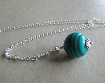Imitation Jade Sterling Silver Necklace