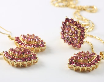 Pink Vintage Necklace, Earrings And Ring Set, Costume Jewelry
