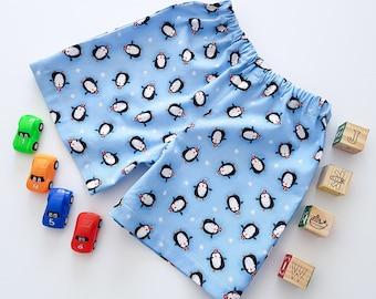 Christmas Penguin Shorts, Penguin Shorts, Blue Shorts, Christmas Shorts