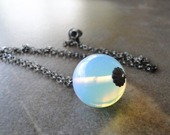 Milky Opalite On An Oxidized Sterling Silver Chain