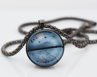 Blue Sky And Lake Necklace, Gunmetal Black, Fine Art Print, Photo Jewelry