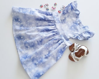 Snow Flakes Blue Dress, Baby and Toddler Dress, Blue Christmas Dress, Winter Theme Dress
