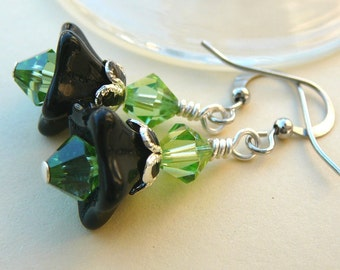Black And Green Must Be Seen - Earrings