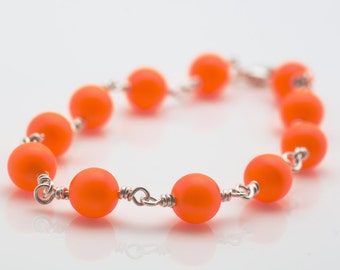 Neon Orange Bracelet With Sterling Silver Wire