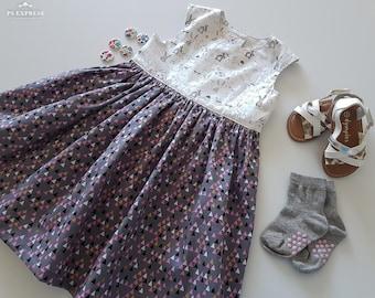 Toddler dress, Bunny Dress, Rabbit Dress, Grey Dress