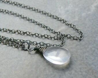 Rose Quartz Pear Briolette  On A Oxidized Sterling Silver Chain.