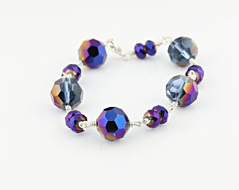 Purple And Blue Chinese Crystal Bracelet, Wirewrapped Sterling Silver