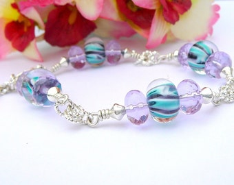 Ice Blue Bracelet With A Hint Of Lavender