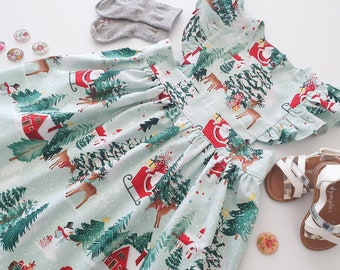 Girls Christmas Dress, Father Christmas and Reindeer Dress, Snow Theme Girls Dress, Size 4 Years Only