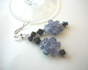 Black Handmade lampwork Earrings