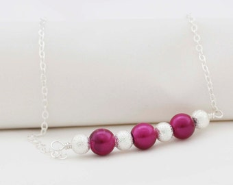 Burgundy Necklace, Bridesmaid Necklace, Pearl Glass Bead Necklace On Sterling Silver Wire, Sterling Silver Chain