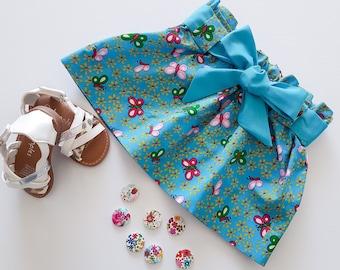 Blue Girls Skirt, Butterfly Skirt, Toddler Skirt, Blue Skirt