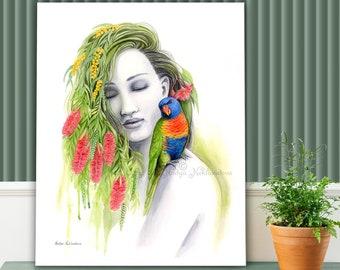 Nature Goddess Canvas Wall Art - Limited Edition canvas print, Australian native flowers, bird lover gift, feminine art, spring wall art