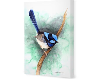Blue Fairy Wren on Emerald Green - Ltd Ed Canvas Print - jewel tone decor, Australian native bird print, garden bird gift bird lover gift