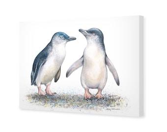 Penguin Canvas Wall Art - 75x50cm - Fairy Penguins by Nadya Neklioudova