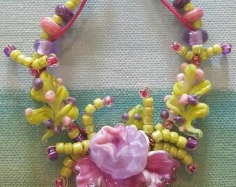Cinnamon Girl Lampwork Floral Bead Set by Helen/'s Harvest