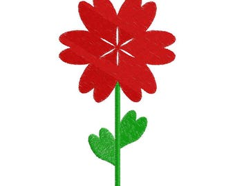 Flower of Hearts - Machine Embroidery - 3 Size - 11 Formats