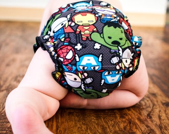 Custom Cloth Diaper or Cover - Combo Print Black and White Stripes and Superheroes (Woven) - Kawaii - Made to Order Nappy or Wrap -Free Ship