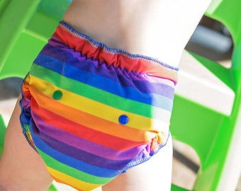 Custom Cloth Diaper or Cover - Primary Rainbow Stripes - You Pick Size & Style - Striped Reusable Diaper or Cover, Nappy or Wrap - Free Ship