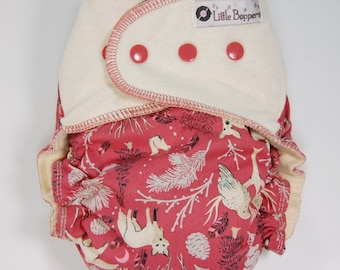 Custom Cloth Diaper or Cover - Woodland Creatures (Woven) with Hemp Jersey Stretchy Wings - Made to Order Nappy or Wrap -Pick Size - Animals