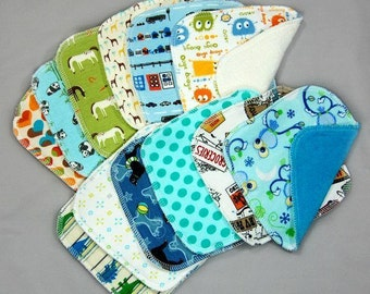 Cloth Diaper Wipes - Cloth Baby Washcloths Wipes - Family Cloth - One Dozen, Assorted - Variety - Set of 12 Wash Cloths Wipes Handkerchiefs