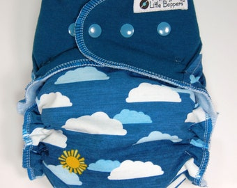 Custom Cloth Diaper or Cover - Partly Cloudy (Woven) with Dark Teal Stretchy Wings - Made to Order Nappy or Wrap - You Pick Size and Style
