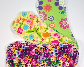 3 Newborn / Small Cloth Diaper Boosters - Doublers for Nappies - Liners - 3 Layer Inserts - Baby Shower Gift - Pretty Floral