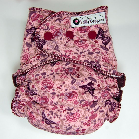 Zoo Happy Cherry Baby One Size Cloth Diaper Cover Snap for Prefolds