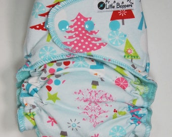 Christmas Cloth Diaper or Cover - Winter Wonderland - Made to Order - You Pick Size and Style - Holiday Nappy or Wrap - Christmas Trees