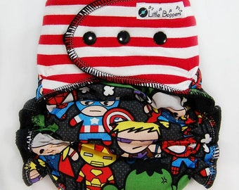 Custom Cloth Diaper or Cover -  Combo Print Superheroes with Red and White Stripes - Kawaii Diaper Nappy or Wrap- AI2, Hybrid, Fitted, Cover