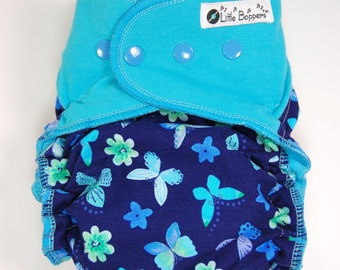 Custom Cloth Diaper or Cover - Blue Butterflies (Woven) with Teal Stretchy Wings - Made to Order Nappy or Wrap - You Pick Size and Style