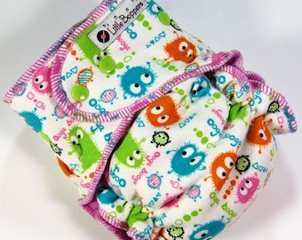 Ready to Ship OS Cloth Diaper - 10-35 lbs - One Size Hybrid Fitted - Cloth Nappy - Candy Ooga Booga - Monsters Baby Diaper Nappies Diapers