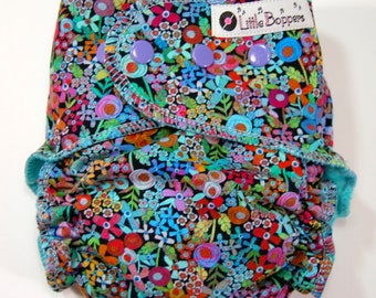 Custom Cloth Diaper or Cover - Made to Order - Happy Place Rainbow Floral - Free shipping - You Pick Size and Style - Small Flowers on Black