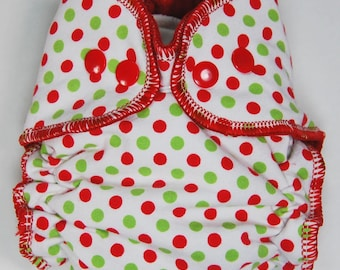 Cloth Diaper or Cover Made to Order - Red and Green Polka Dots - You Pick Size and Style - Custom Nappy or Wrap - Holiday - Christmas Dots