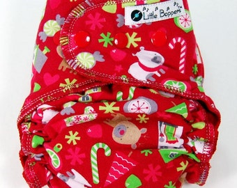 Cloth Diaper or Cover Made to Order - Red Christmas Toss - You Pick Size Style - Holiday Nappy or Wrap - Candy Cane Snowman Reindeer