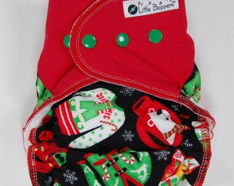 Custom Christmas Cloth Diaper or Cover - Ugly Xmas Sweaters - Made to Order - You Pick Size and Style - Nappy or Wrap Holiday Red and Green