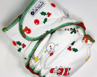 Ready To Ship One Size Cloth Diaper AI2 - Christmas - 7-35 lbs- OS Hidden-PUL All-in-Two Nappy- Santa Toss - Free Shipping - Holiday