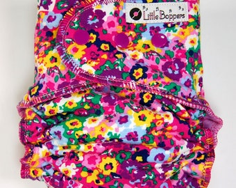 Custom Cloth Diaper or Cover - Pansies - You Pick Size and Style - Bright Flowers Floral - Diaper or Cover, Nappy or Wrap - Made to Order