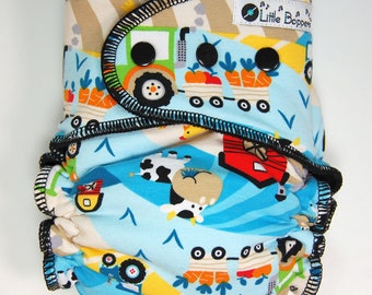 Cloth Diaper or Cover Made to Order - Farm Life Blue - You Pick Size and Style - Custom Nappy or Wrap - Tractor Barn Chicken Cow Farmer