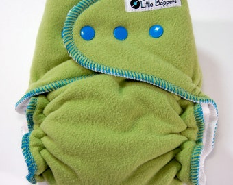 Overnight Cloth Diaper Made to Order Extended-Use Wind Pro AI2 - Spring Green with Turquoise Trim- You Pick Size- WindPro Nighttime Sleep