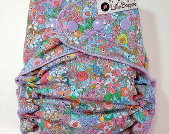 Custom Cloth Diaper or Cover - Made to Order - Happy Place Paris Floral - Free shipping - You Pick - Small Pretty Flowers Purple and Blue